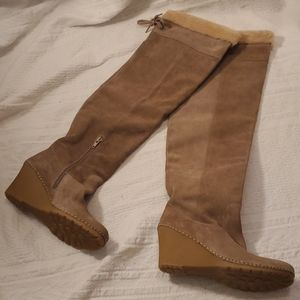 Bettye Muller Tan Suede Wedge Boots Size 37; 6.5